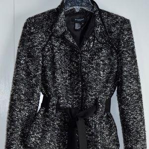 Cropped Boucle Jacket w/ Black Tie at Waist, sz S
